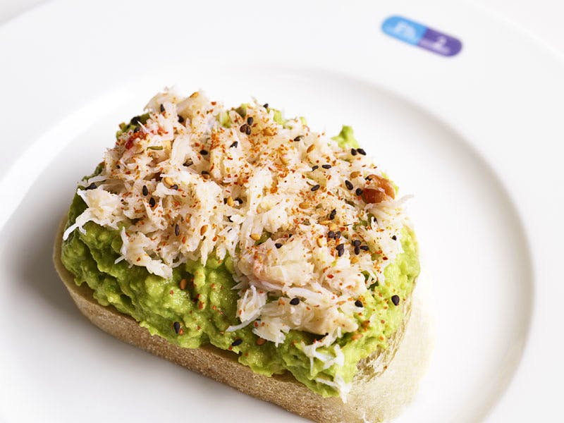 Crushed avocado on toast with chilli at Damien Hirst's Pharmacy 2