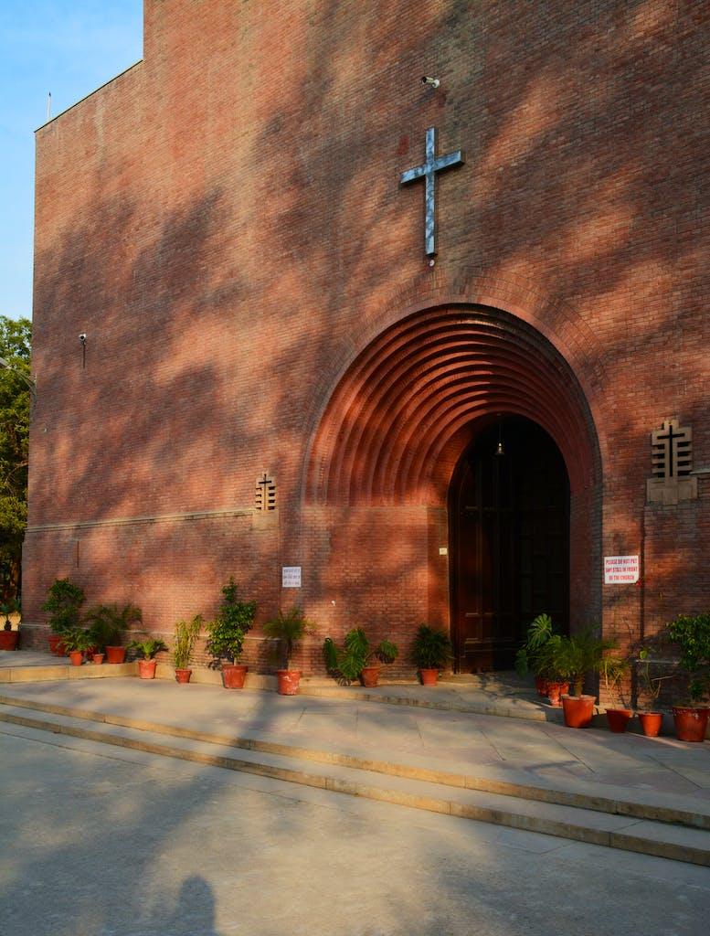 The western entrance of St Martin's Garrison Church, new Delhi.