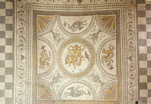Cupid on a Dolphin mosaic at Fishbourne Roman Palace.