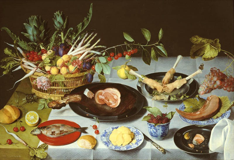 A Still Life of a laid Table, with Plates of Meat and Fish... (c. 1615), Jacob van Hulsdonck. Johnny Van Haeften at London Art Week