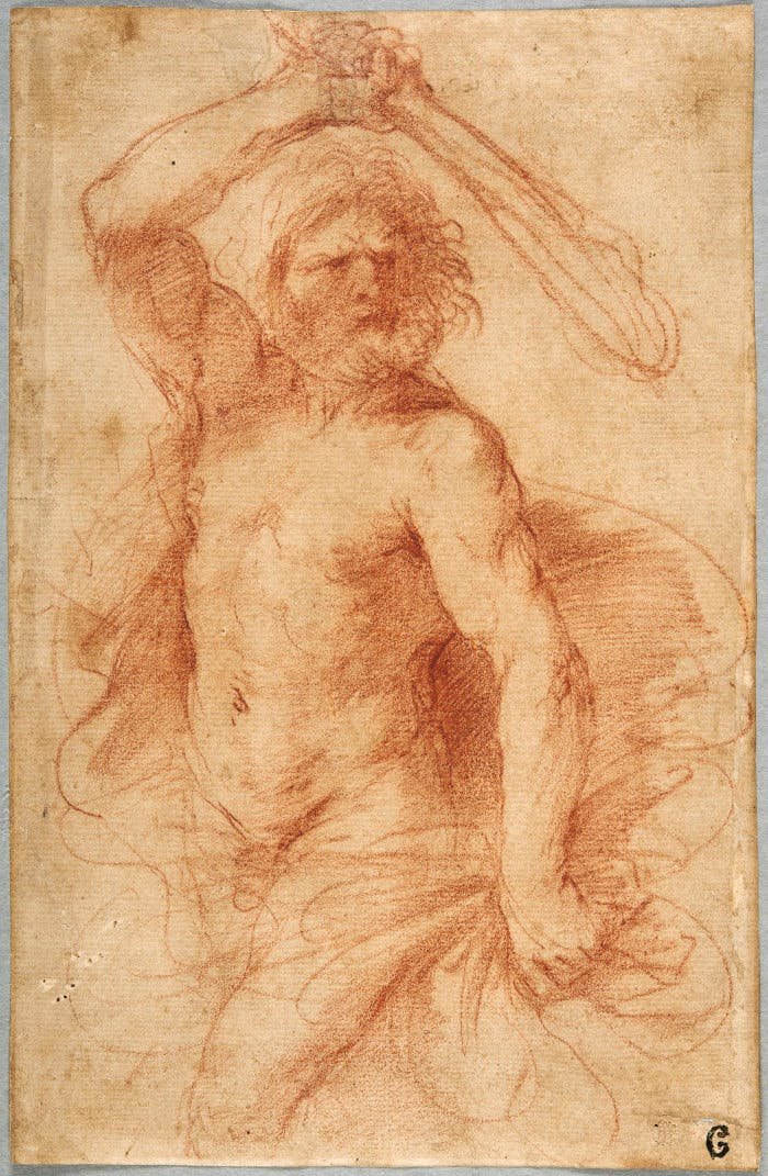 A Study for Hercules, in three-quarter-length