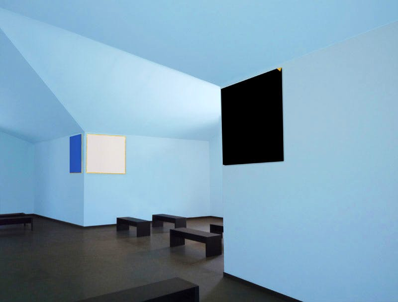 Rendering of the interior of the chapel at Città Sant'Angelo, designed by Spalletti and his wife Patrizia Leonelli, and showing the light blue interior walls and minimalist black benches.