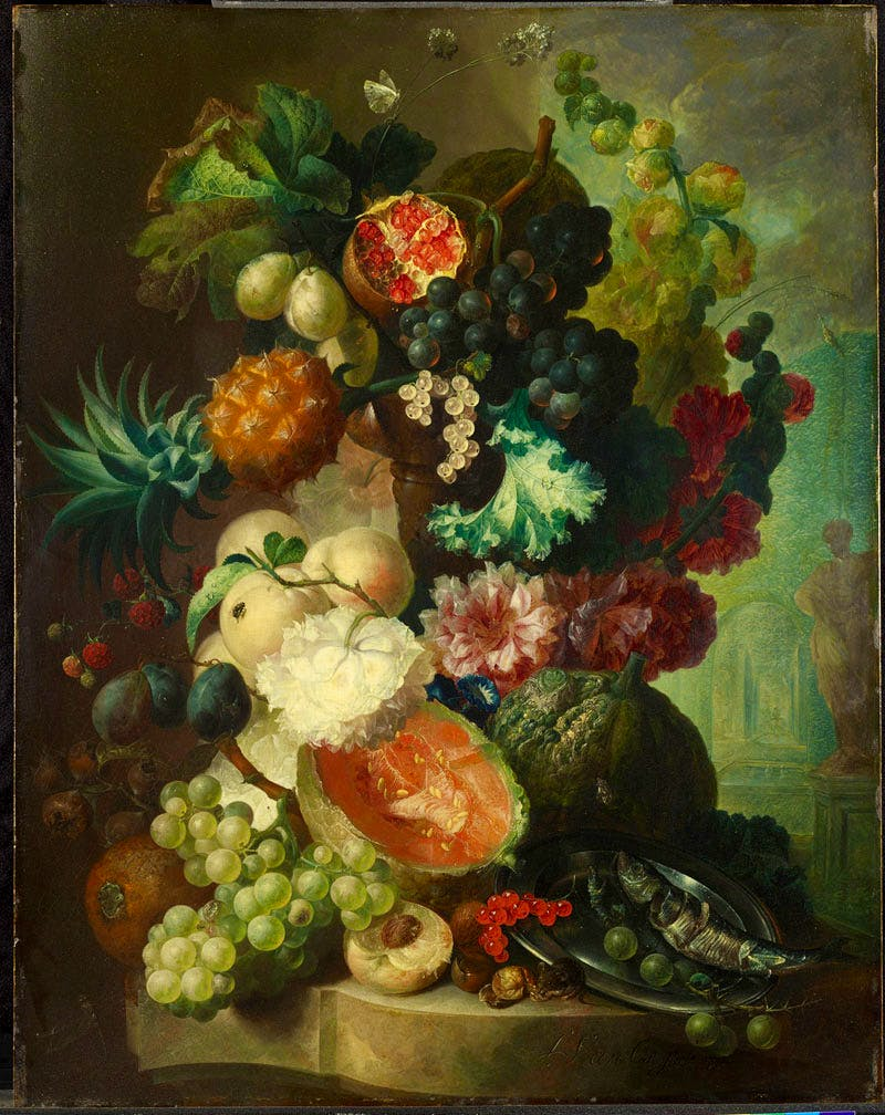 Fruit, Flowers and a Fish (1772), Jan van Os