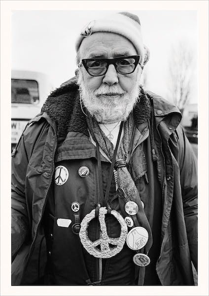 A peace protester at the 'Spring Festival' staged at the RAF/USAF Greenham Common, Berkshire
