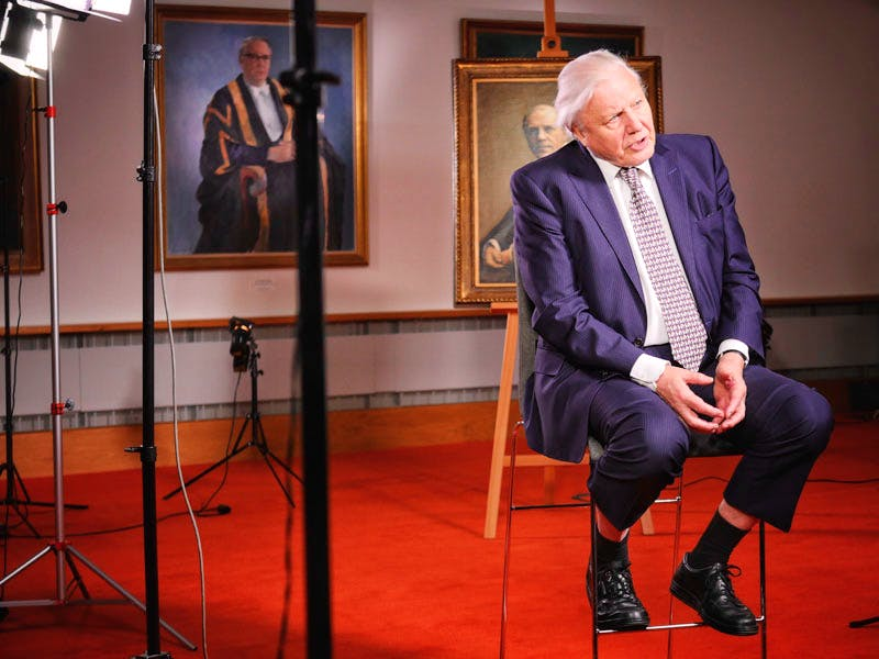 David Attenborough at the Attenborough Arts Centre for the opening of the new gallery.