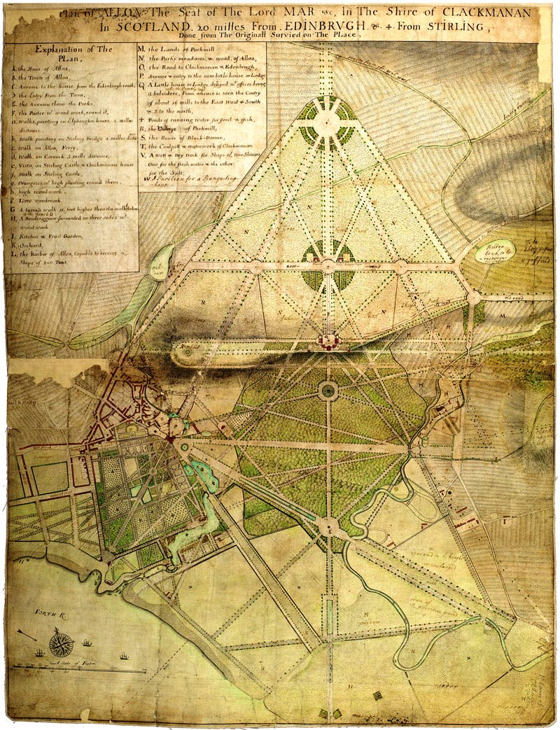 Survey plan of the Mar family estate at Alloa, designed in 1710 by John Erskine, sixth earl of Mar.