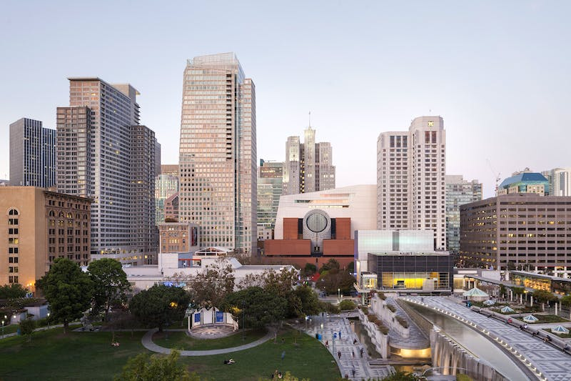 View of SFMOMA from Yerba Buena Gardens