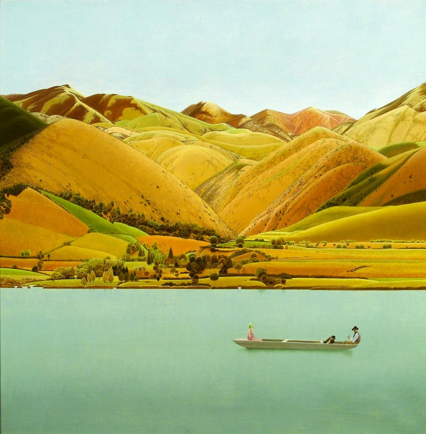 Edge of Abruzzi; boat with three people on a lake