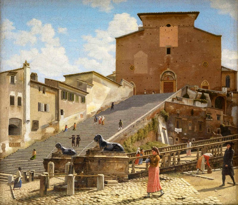 The Marble Steps Leading to the Church of Santa Maria in Aracoeli in Rome (1814–16), Christoffer Wilhelm Eckersberg.