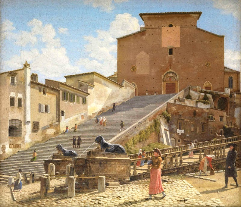 The Marble Steps Leading to the Church of Santa Maria in Aracoeli in Rome (1814–16), Christoffer Wilhelm Eckersberg.