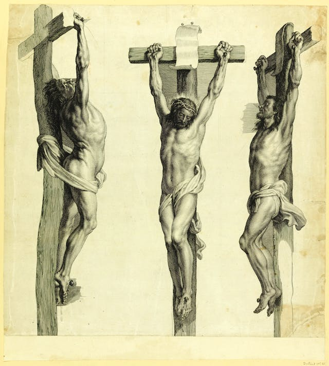 Christ on the Cross between two thieves
