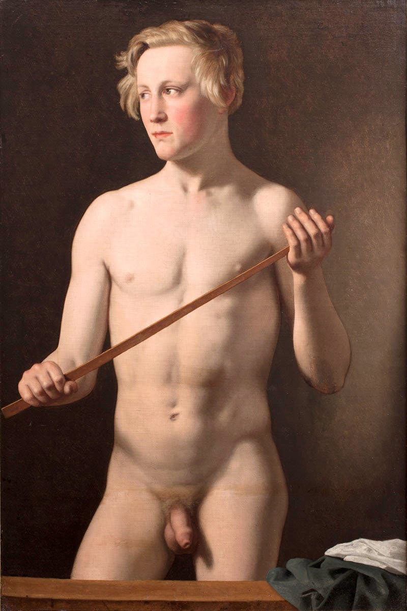 Male Model holding a Staff. Carl Frørup, 18 years (1837) Christoffer Wilhelm Eckersberg.