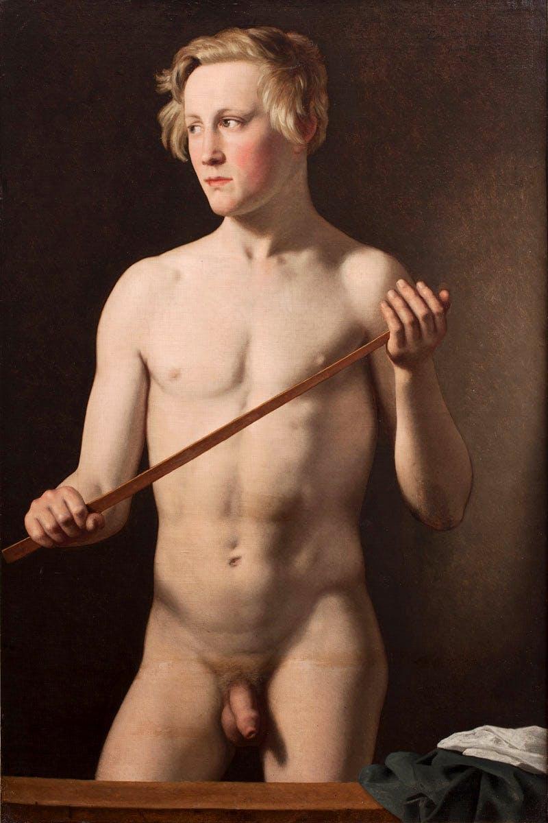 Male Model holding a Staff. Carl Frørup, 18 years (1837) Christoffer Wilhelm Eckersberg.