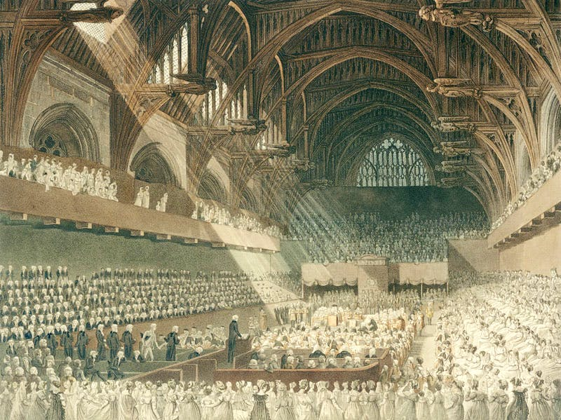 The Trial of Henry Lord Viscount Melville in Westminster Hall (published 1806), print by J. Hill after a drawing by Augustus Charles Pugin and John Claude Nattes