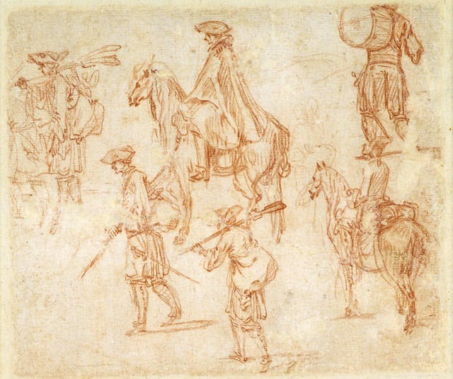 Studies of Foot Soldiers, a Drummer, and Two Cavaliers (verso)
