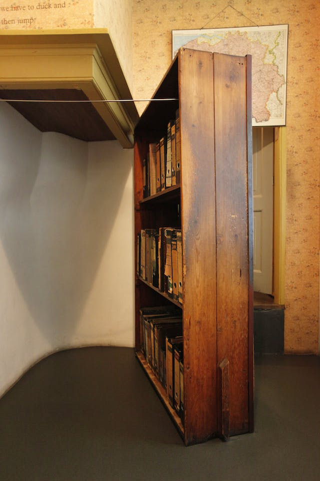 The entrance to the secret annex in the Anne Frank House, Amsterdam