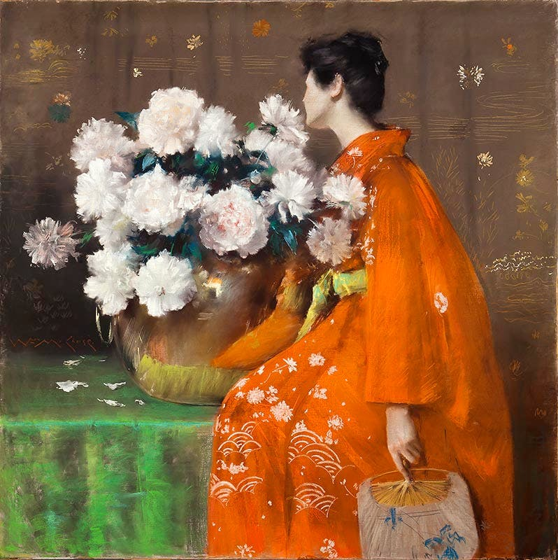 Spring Flowers (Peonies) (1889), William Merritt Chase.