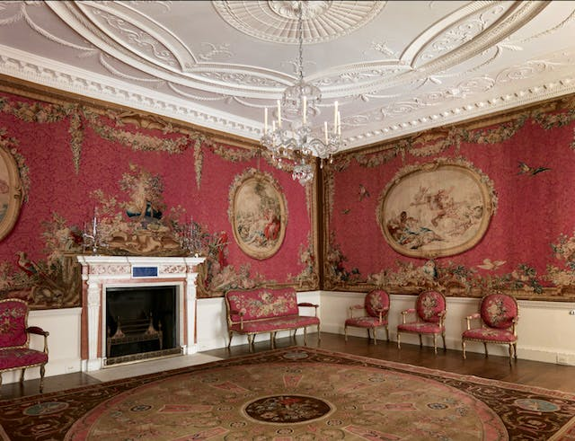 The tapestry room from Croome Court, Worcestershire, 1763–71, designed by Robert Adam, as currently installed at the Metropolitan Museum of Art, New York