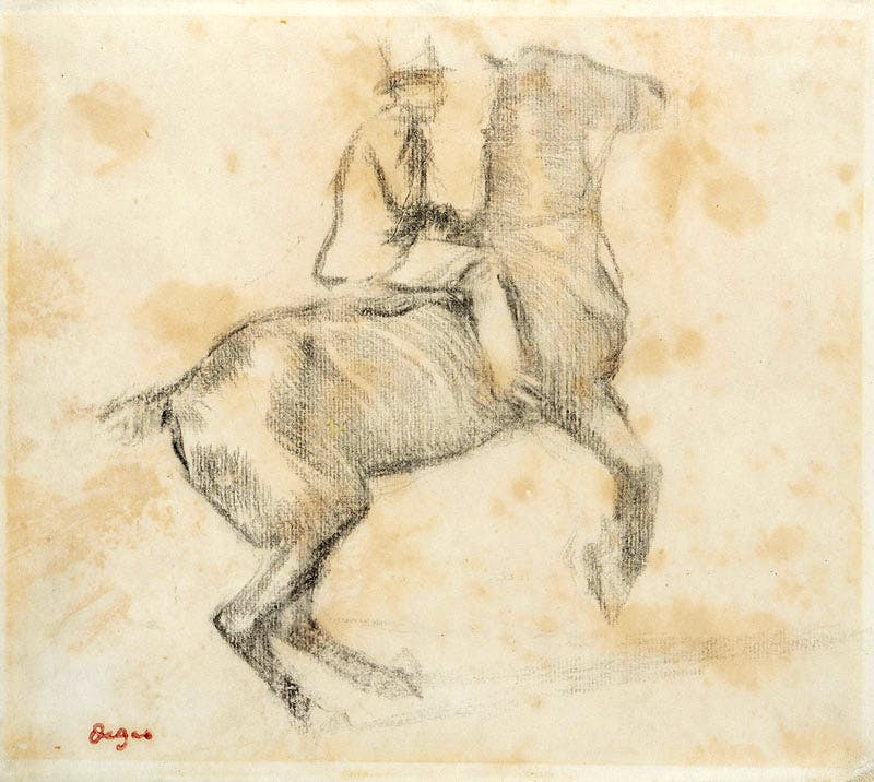 Horse and Rider (Cheval se cabrant (La courbette) (late 19th century), Edgar Degas