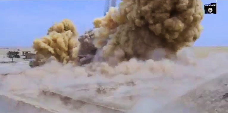 Screenshot from the video that purportedly shows ISIS militants destroying the Temple of Nabu in Iraq.