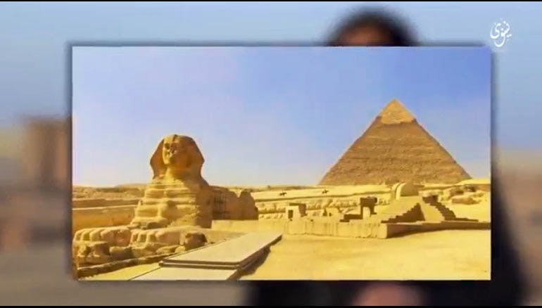 Screenshot from a video purportedly showing ISIS militants destroying monuments in Iraq. The video concludes with a threat to attack the Great Pyramid at Giza.