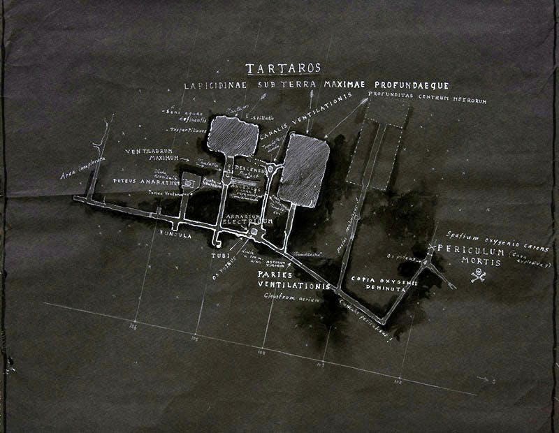 Tartaros, tunnels and deep giant stopes, map of level +80 (2011), Jussi Kivi