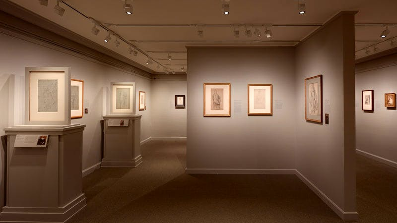 Installation view of 'Van Dyck: The Anatomy of Portraiture' at the Frick Collection, New York, showing works on paper in the lower level galleries of the museum.