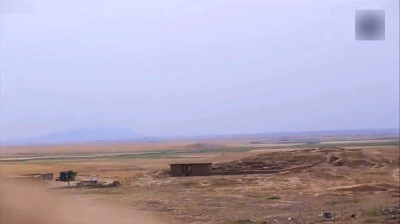 A screenshot from the ISIS video showing the Temple of Nabu prior to being destroyed