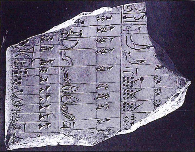 One of the tablets from the Temple of Nabu in Nimrud, which features Neo-Assyrian cuneiform side by side with attempts at reconstructing older cuneiform signs