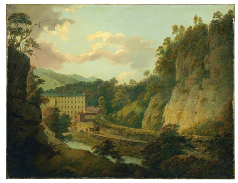 Arkwright's cotton mill, Cromford (c. 1795–6), Joseph Wright of Derby