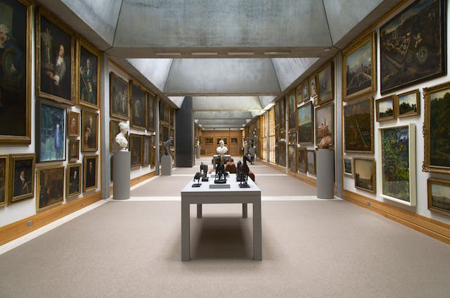The Long Gallery, following its recent reinstallation, at the Yale Center for British Art, New Haven.
