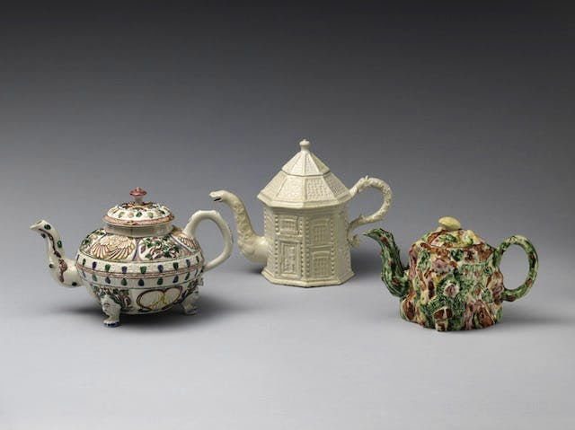 Three Staffordshire teapots dating to c. 1745–60, among the stoneware that will be on show in the redisplayed British decorative arts galleries at the Metropolitan Museum of Art, New York (due to open in 2018).