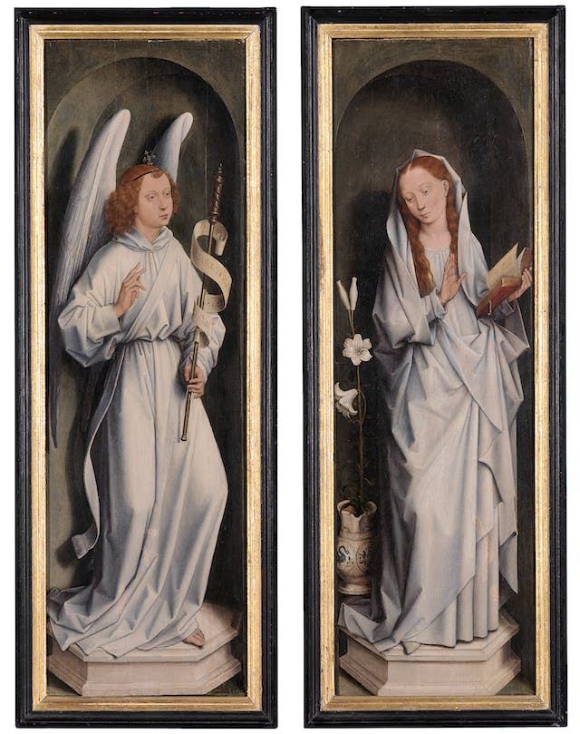 The Triptych of Jan Crabbe (closed), Annunciation Panel