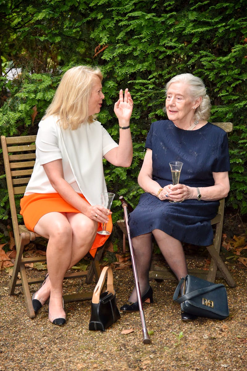 Susan Moore and Lady Juliet Tadgell at the Apollo summer party