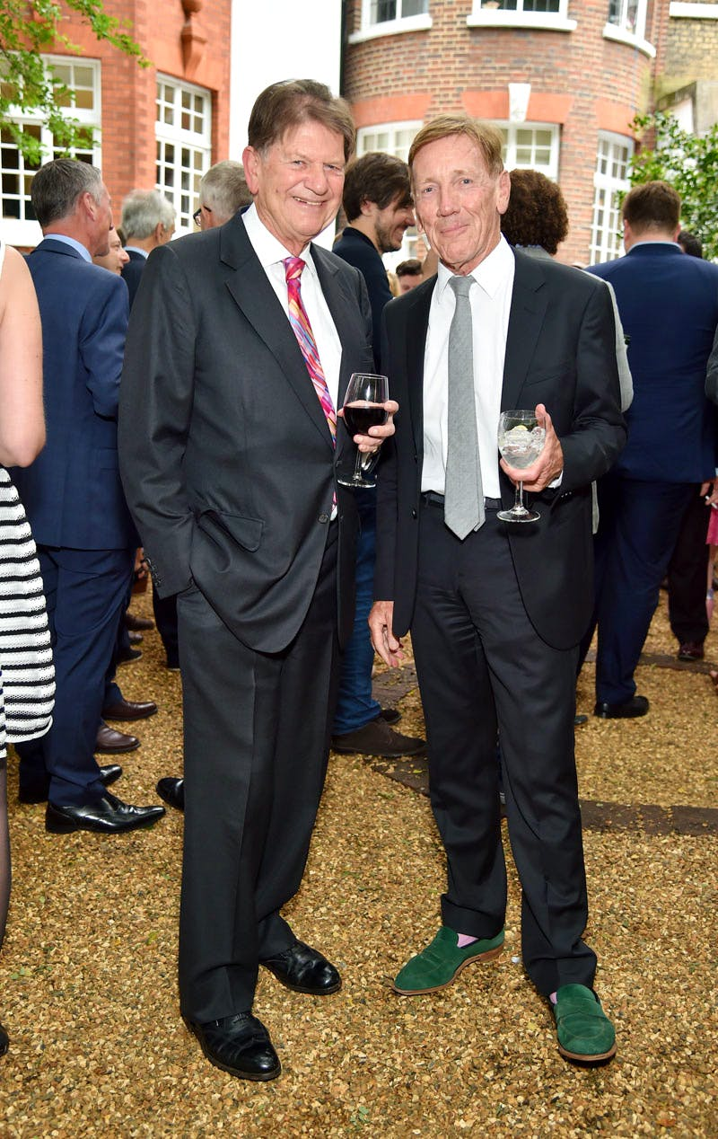 John Madejski and Edmund Capon at the Apollo summer party 2016