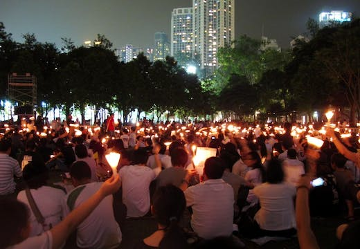 Crowds at a vigil commemorating 1989's Tiananmen protests, organised by the Hong Kong Alliance in Support of Patriotic Democratic Movements of China