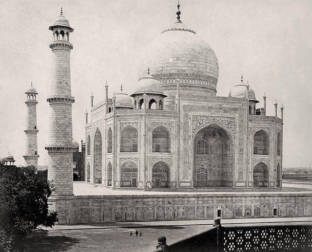 Agra, The Taj Mahal from the corner of the quadrangle