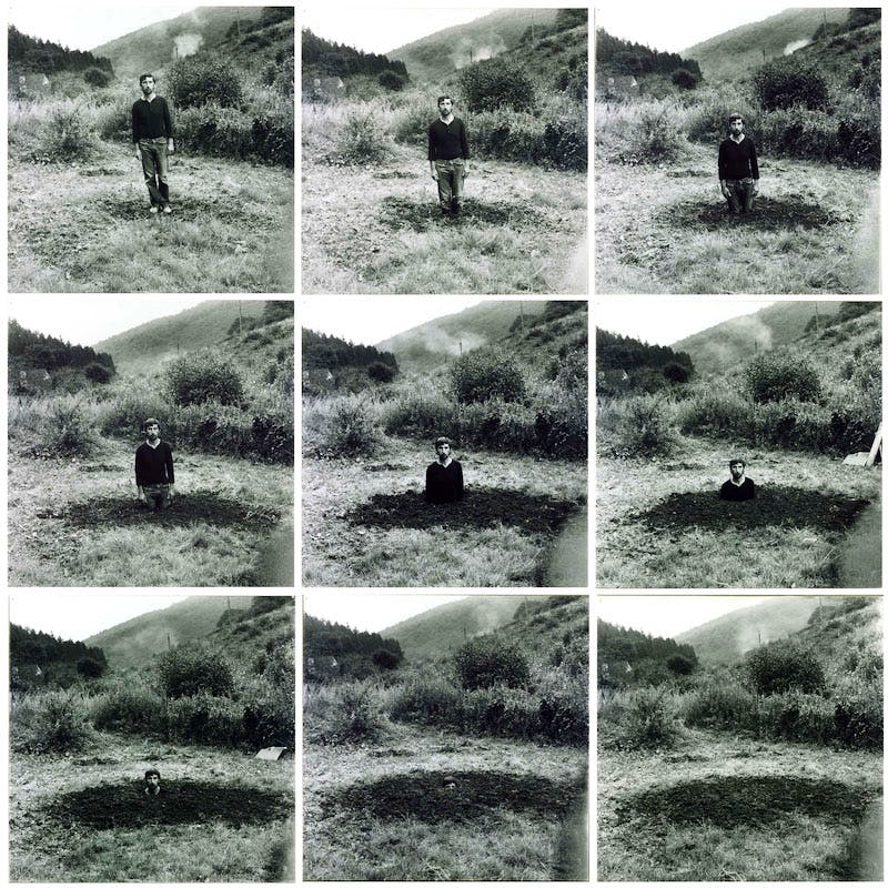 Self-Burial (Television Interference Project) (1969), Keith Arnatt.