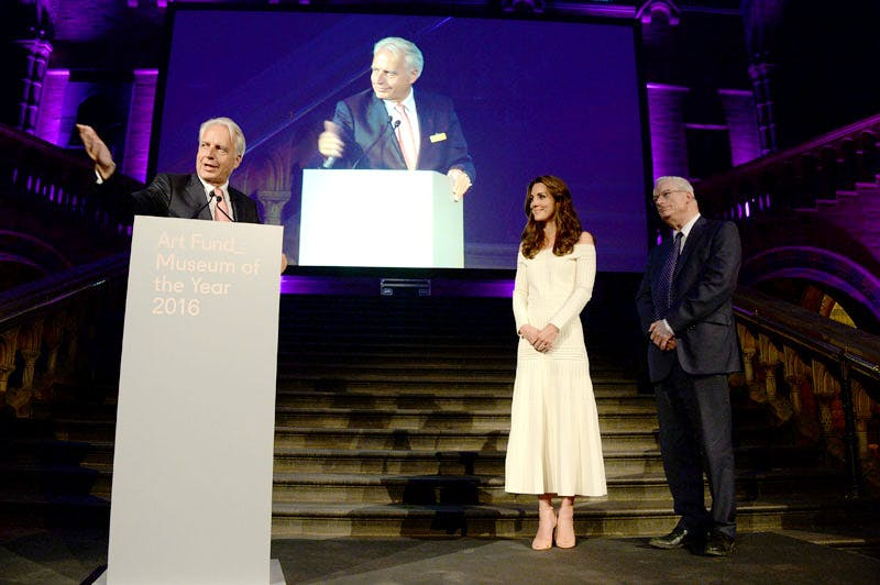 Martin Roth, director of the Victorian and Albert Museum, accepts the Art Fund's Museum of the Year Award 2016 from the Duchess of Cambridge, during a ceremony at the Natural History Museum, London.