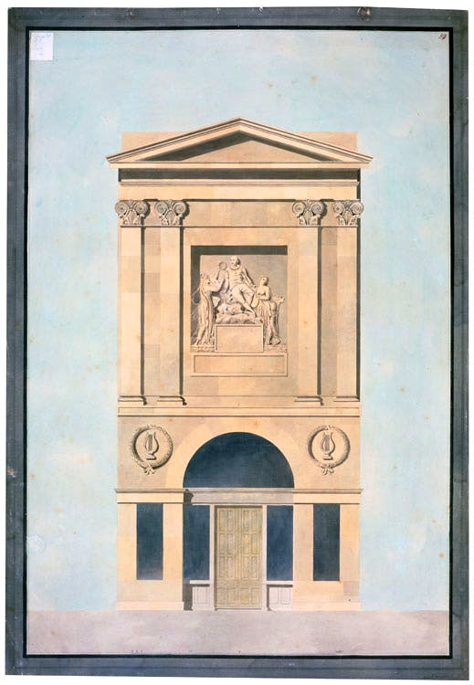 The façade of John Boydell's Shakespeare Gallery on Pall Mall, built in 1788–89 and shown here in a Royal Academy lecture drawing by the Soane office of c. 1806–15.