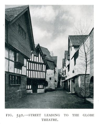 'Street leading to the Globe Theatre' at the 'Shakespeare's England' exhibition at Earl's Court, London, in 1912.