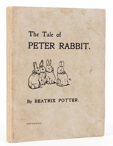 A first edition of The Tale of Peter Rabbit by Beatrix Potter