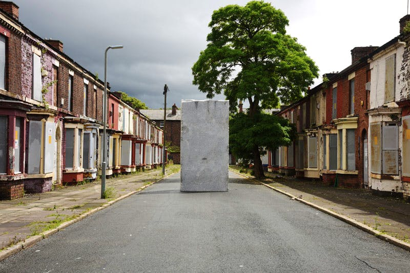 Momentary Monument – The Stone (2016), Lara Favaretto, installation view at Welsh Streets, Liverpool Biennial 2016.