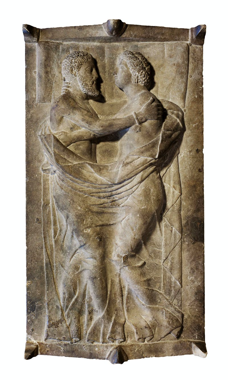 Sarcophagus lid depicting Larth Tetnies and Thanchvil Tarnai (Late 4th–early 3rd century BC), Etruscan, Travertine.