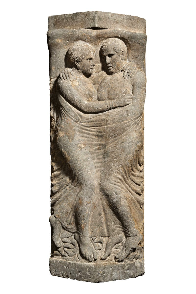 Sarcophagus and lid with portraits of husband and wife (Late 4th–early 3rd century BC), Etruscan; Volcanic tuff.