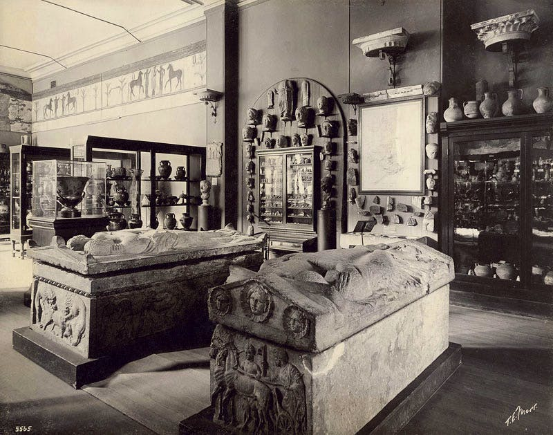 View of the sarcophagi in the original MFA building on Copley Square (1902).