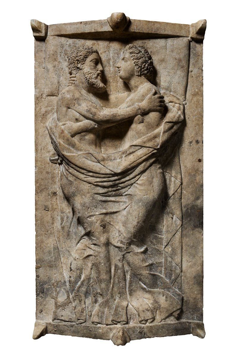 Sarcophagus and lid with husband and wife (350–300 BC), Etruscan; Travertine.