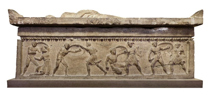 Relief depicting Greeks and Amazons engaged in battle; Larth Tetnies and Thanchvil Tarnai sarcophagus. Etruscan; Travertine.