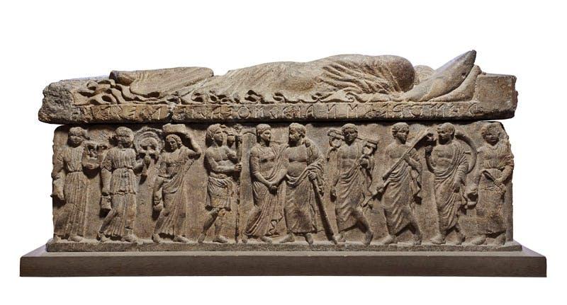 Relief depicting Ramtha Vishnai and Arnth Tetnies flanked by attendants; Ramtha Vishnai and Arnth Tetnies sarcophagus. Etruscan; Volcanic tuff.