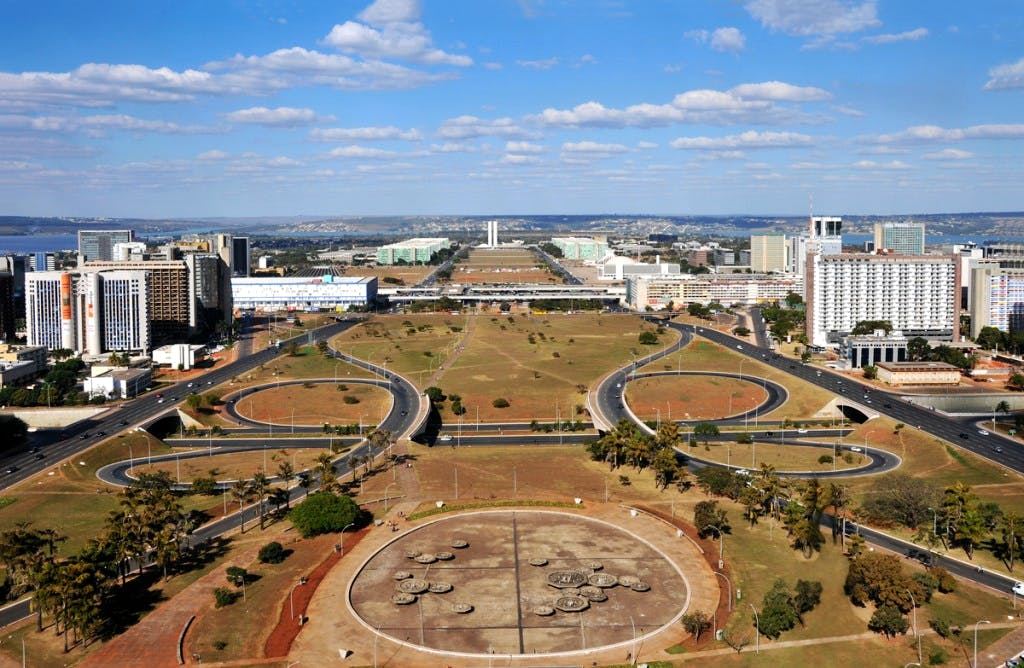 The Monumental Axis in Brasília, seen from the TV tower.